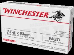 WM80 Winchester USA 7.62x51 NATO 149 Grain M80 FMJ